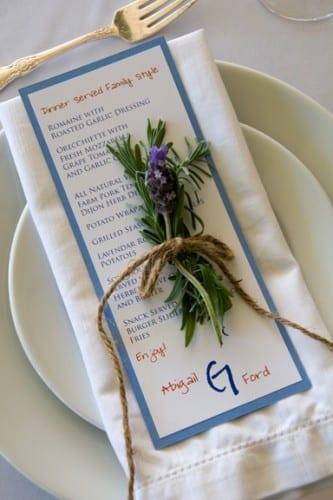 menu card with twine
