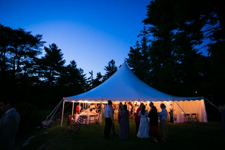 tented wedding at evening