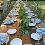 farm tables with garland
