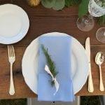 rosemary on blue napkin
