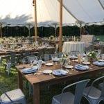 farm tables, sailcloth tent, bistro chairs
