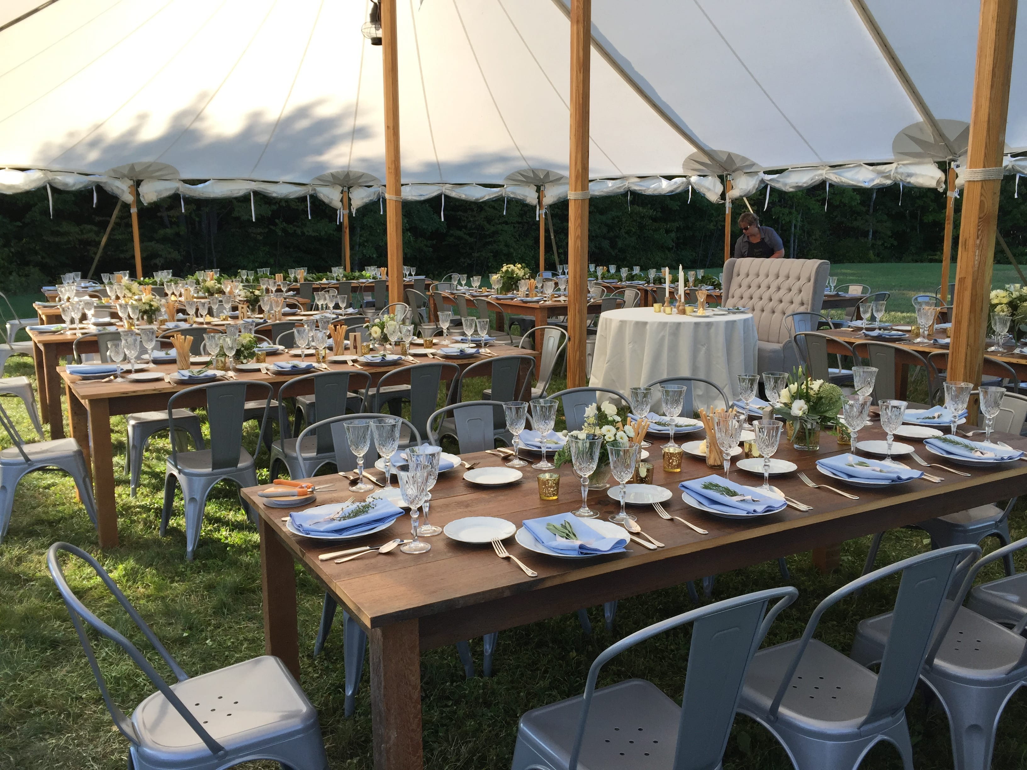 farm tables, sailcloth tent, bistro chairs   buffet vs plated wedding