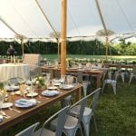 farm tables and bistro chairs