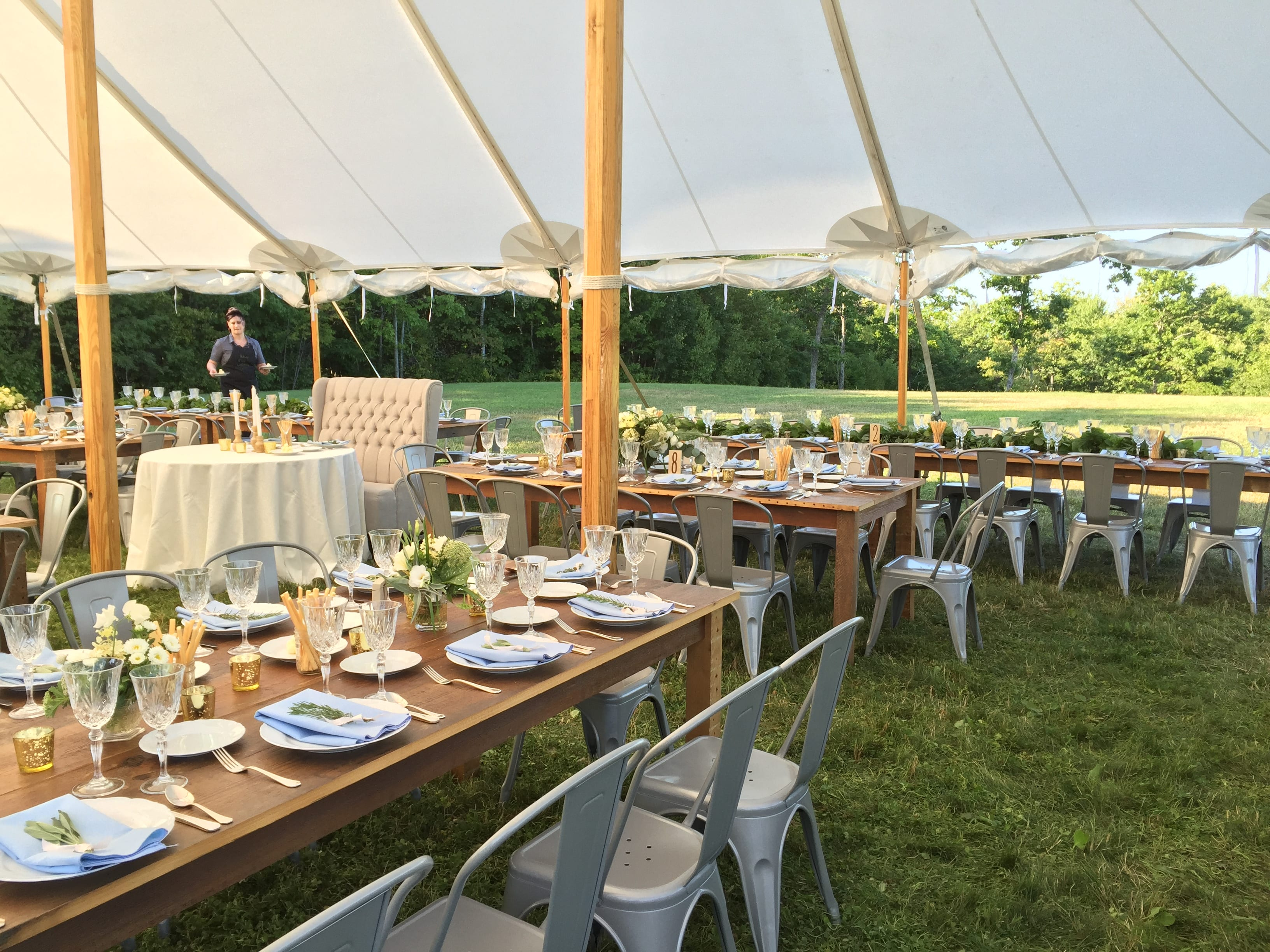 summer wedding farm tables and metal bistro chairs   outdoor wedding catering