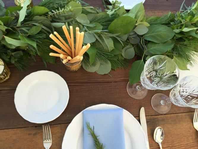 Summer wedding garland and bread sticks