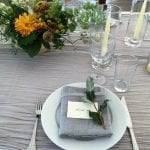 grey napkins with herb