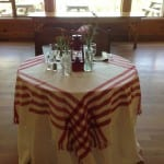 red and white strip sweetheart table