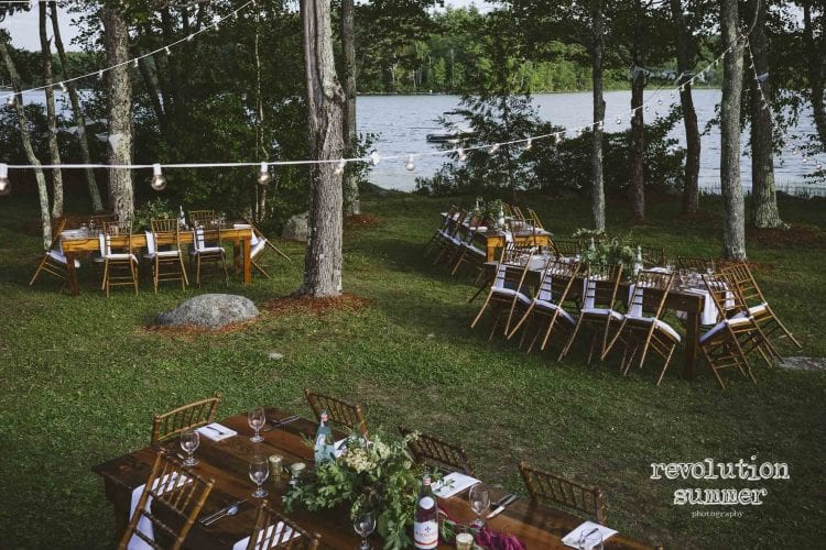 Summer Camp Wedding Farm Tables and Chavari Chairs
