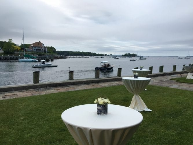 Cocktail tables on lawn at Camden Yacht Club