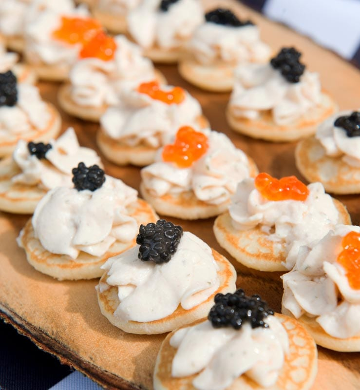 Maine Wedding Catering | Caviar, Smoked Salmon Mousse on a Belini