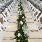 long tables with pink runner