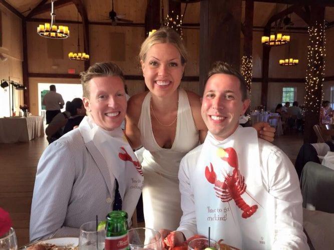 wedding guests wearing lobster bibs