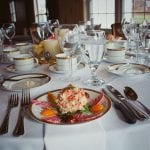 round tables with lobster salad