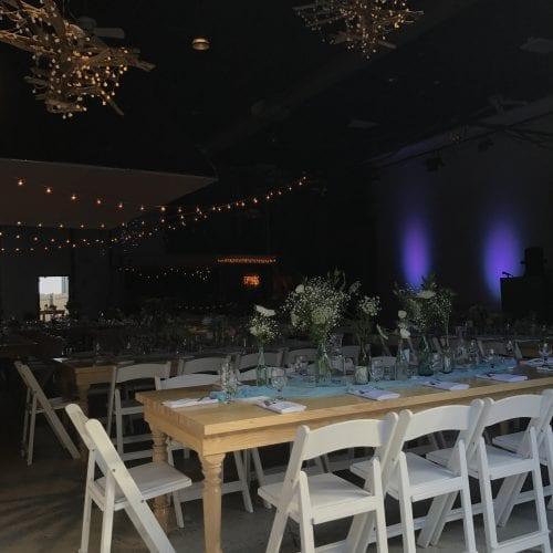 evening wedding venue set up