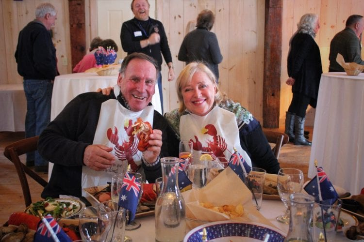 wedding guests at lobster bake