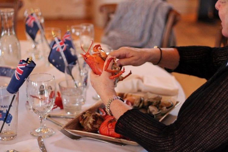 guests enjoying lobster bake