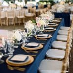 navy and gold set table